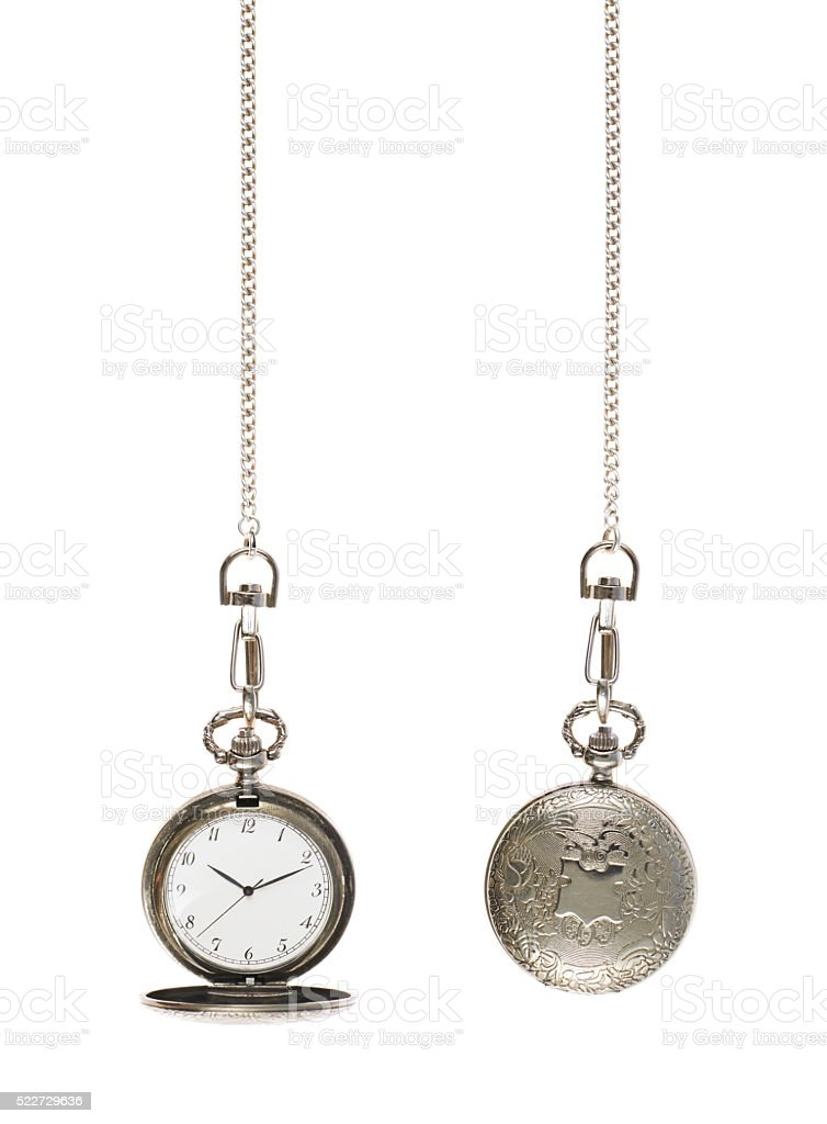 Closed and opened pocket watch stock photo