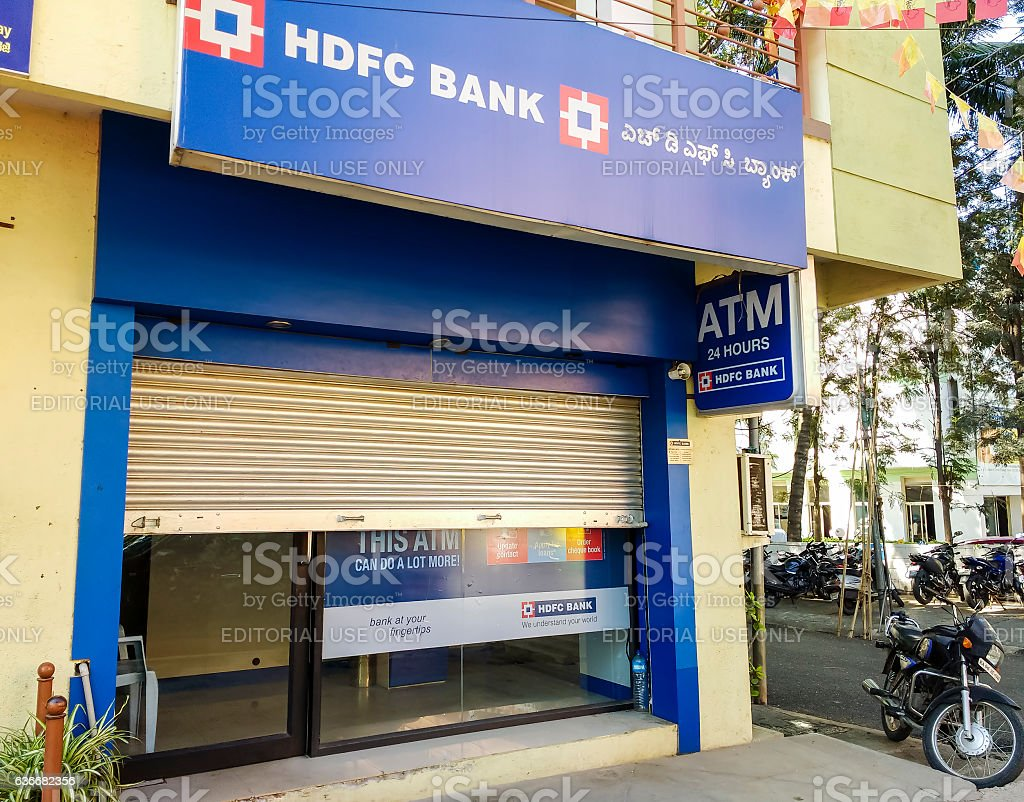 Closed ATM booth, Bangalore, India stock photo