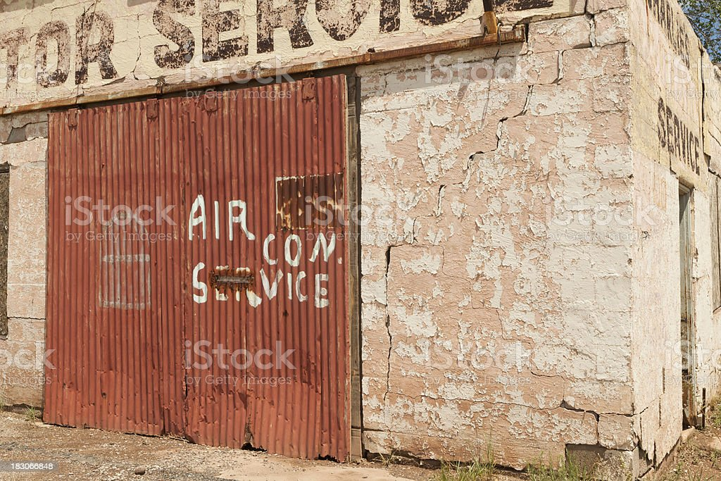 Closed Automobile Garage, Abandoned on Route 66, Grunge royalty-free stock photo