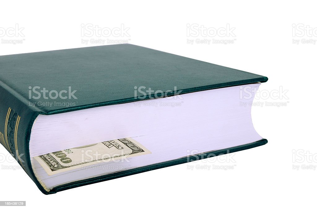 Closed book with a bookmark USD on the left royalty-free stock photo
