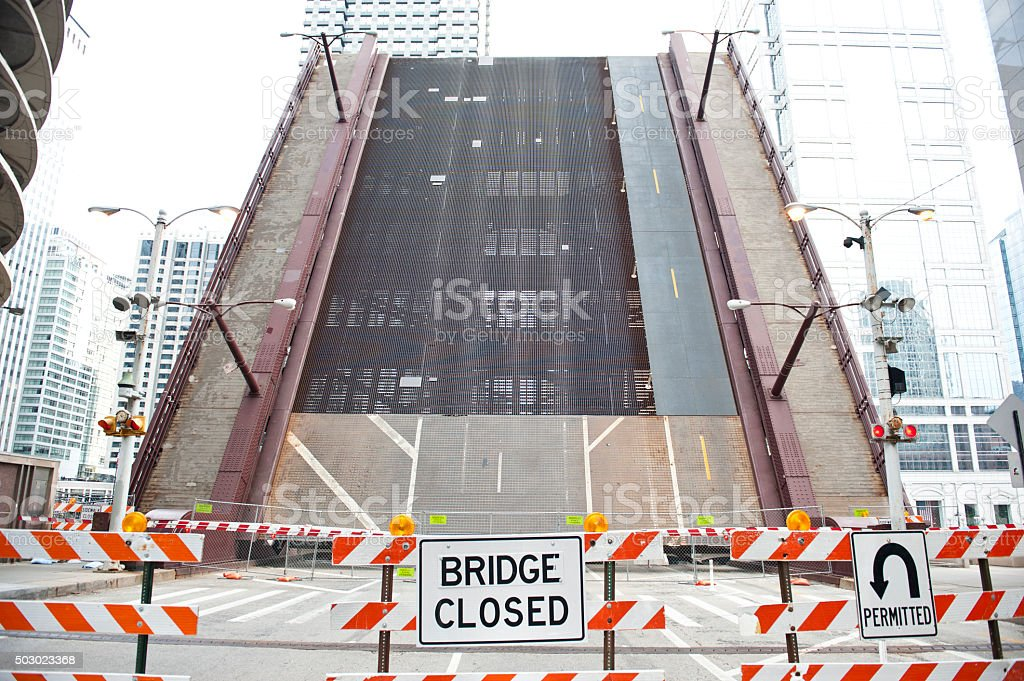 Closed Bridge on Chicago River stock photo