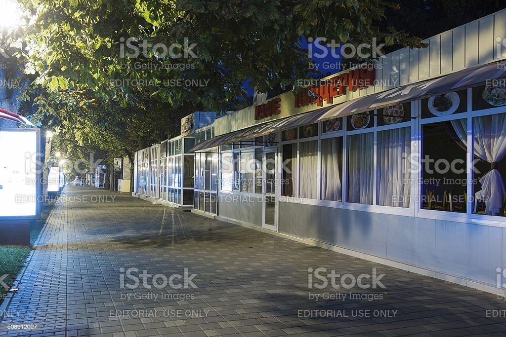 Closed cafes and pizzeria on the prospectus of Kirov (Pyatigorsk stock photo