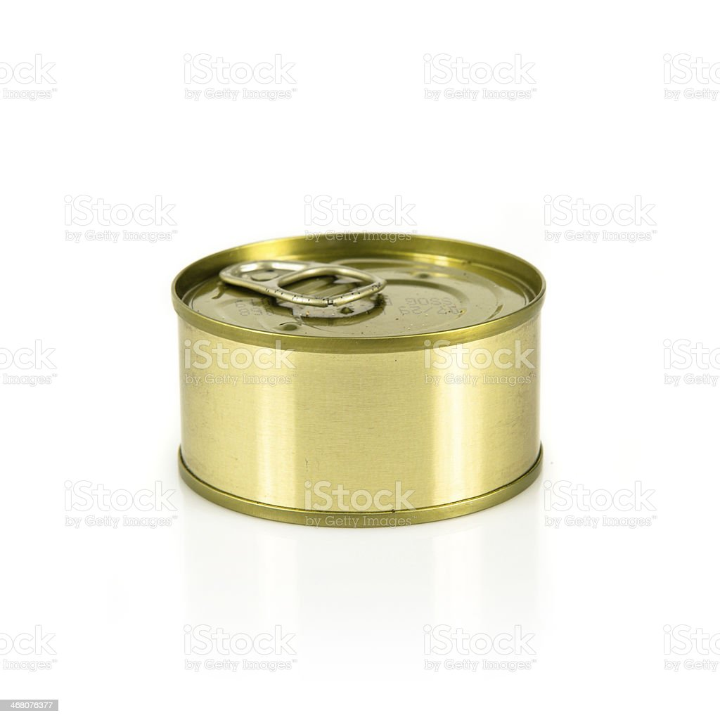 Closed can of tuna isolated over white background stock photo