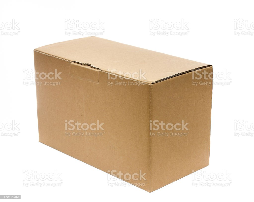 Closed cardboard box isolated on white royalty-free stock photo