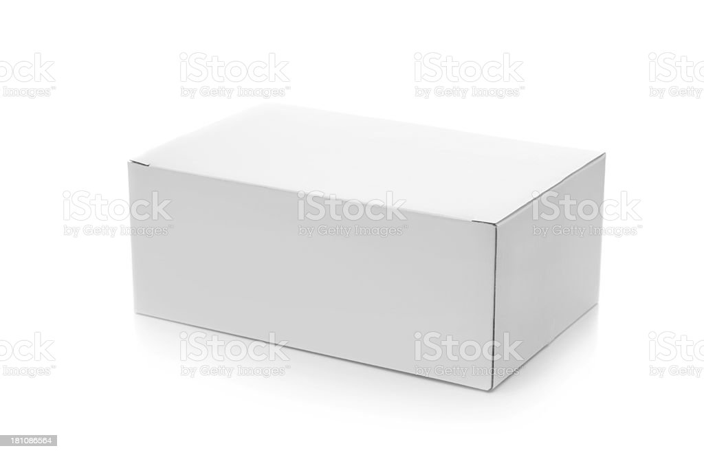 Closed Cardboard Box on White stock photo