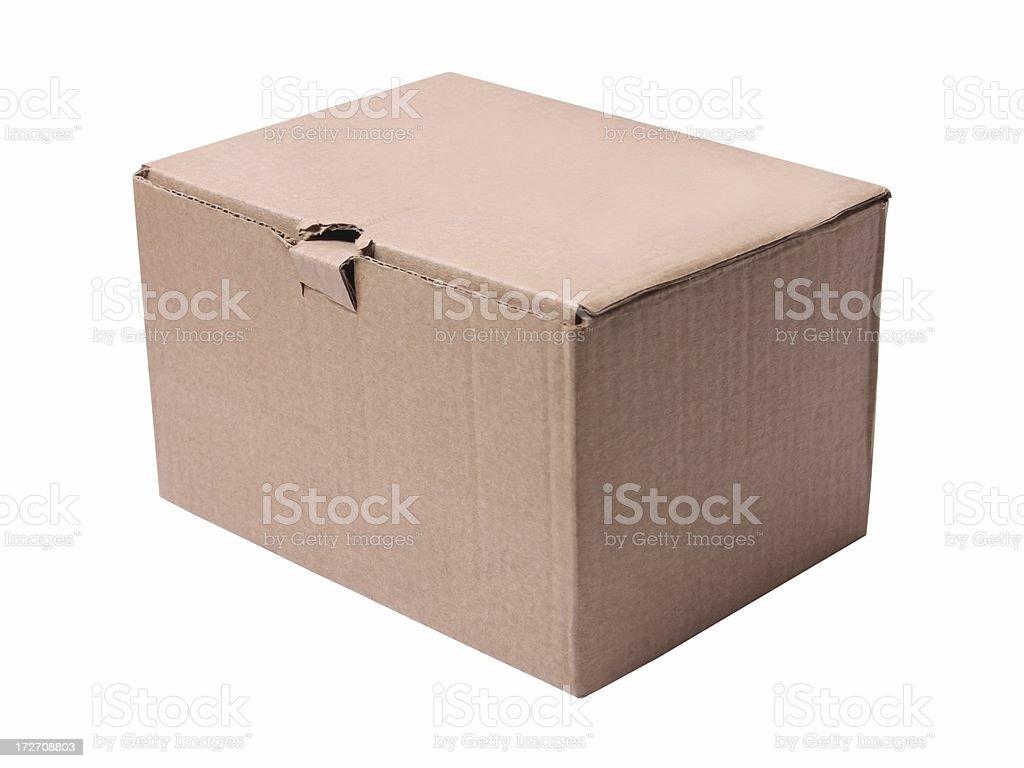 Closed cardboard box (isolated) royalty-free stock photo