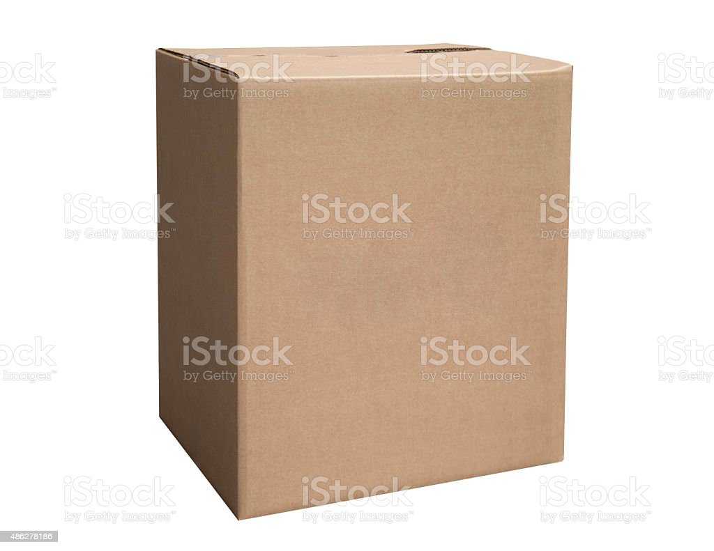 Closed cardboard box stock photo