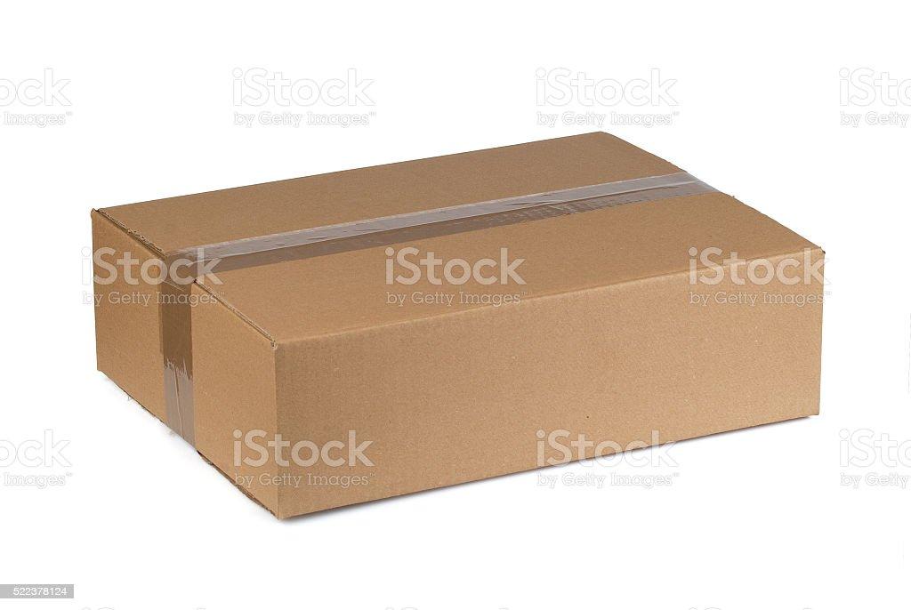 Closed cardboard box stock photo