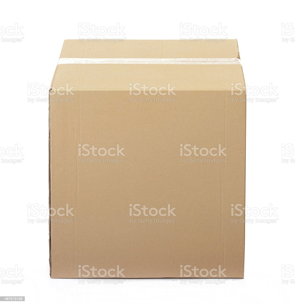 Closed cardboard box taped up stock photo