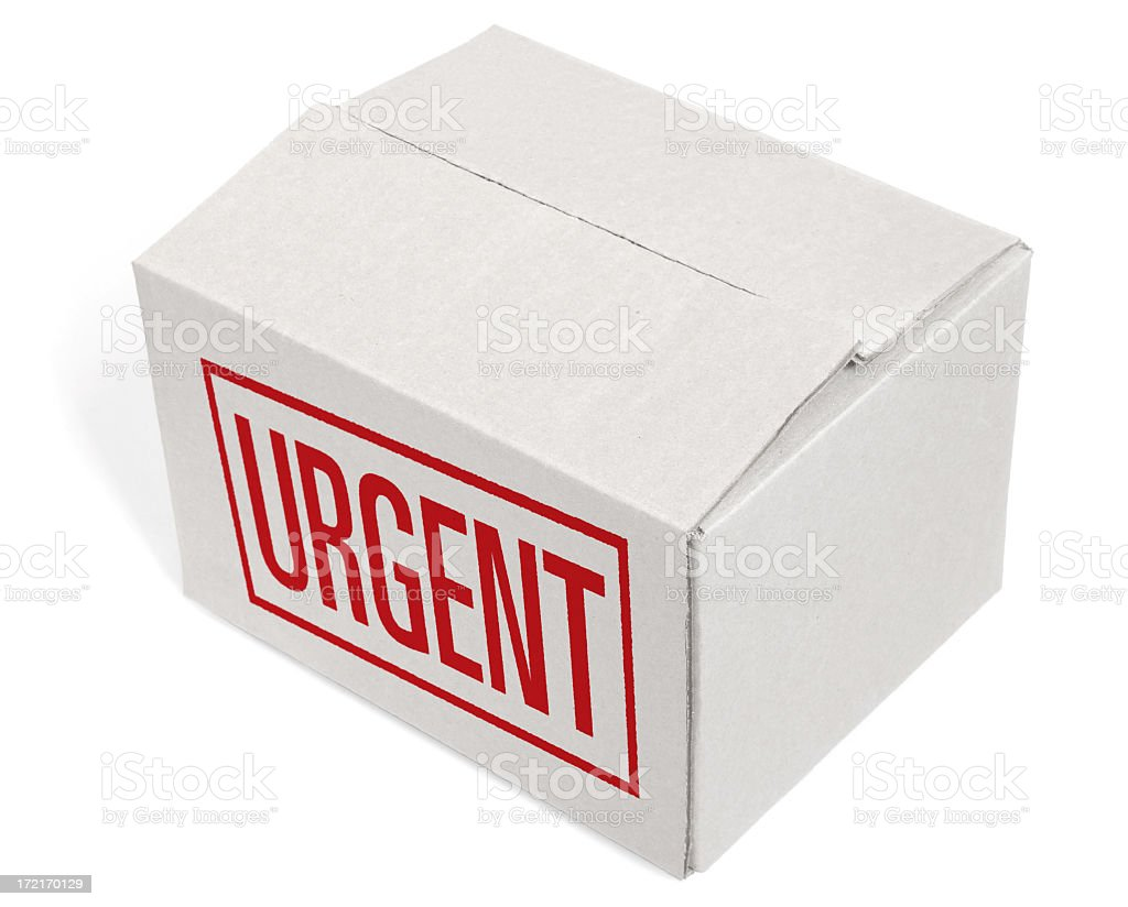 Closed Cardboard Box with an URGENT mention royalty-free stock photo