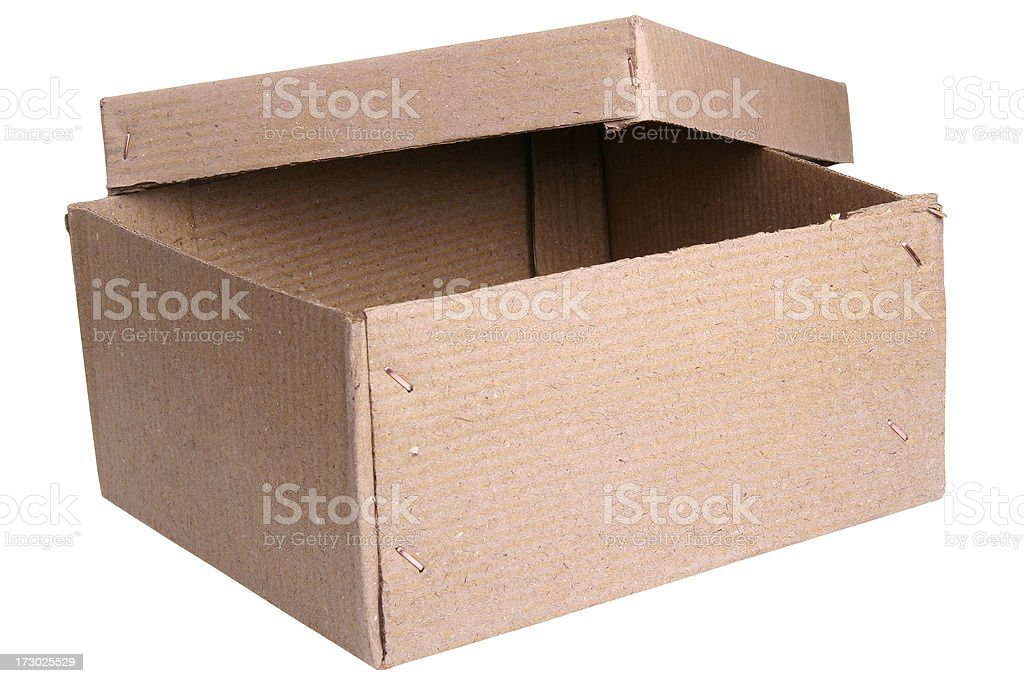 Closed cardboard box with lid, Object Clipping Path royalty-free stock photo