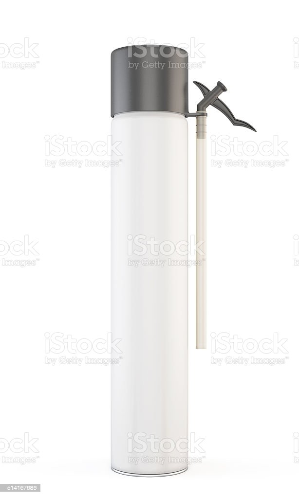 Closed construction foam tube isolated on white background. 3d. stock photo