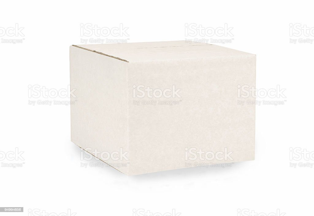 Closed cube cardboard box stock photo