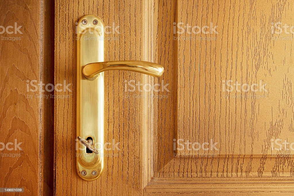 closed door and the key stock photo