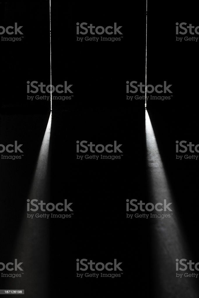 closed door with bright light stock photo