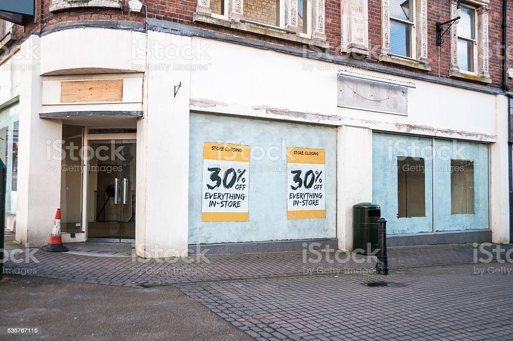 Closed Down Empty Shop stock photo