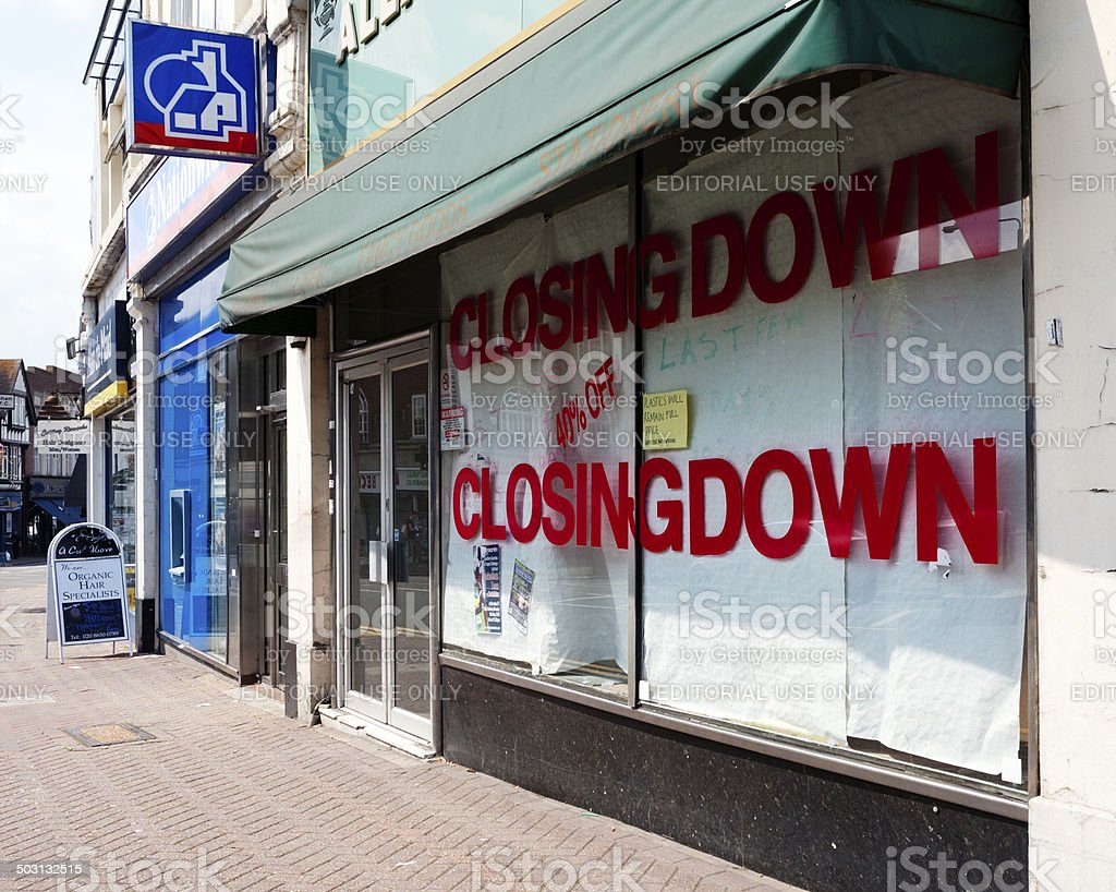 Closed down High Street shop stock photo