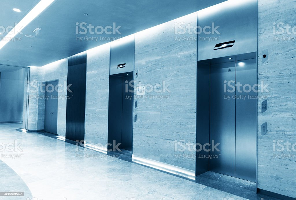 Closed elevator stock photo