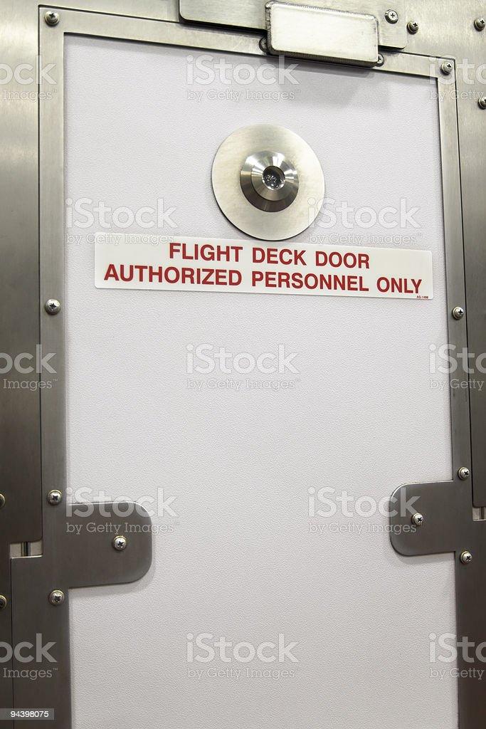 Closed Flight Deck Door In An Airplane XL stock photo