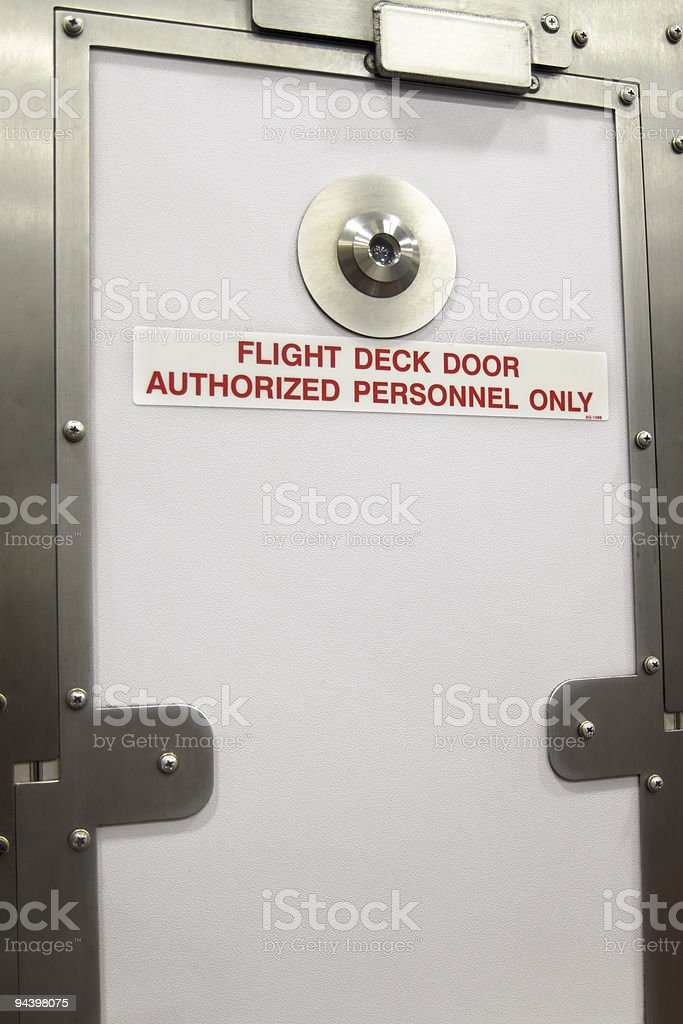 Closed Flight Deck Door In An Airplane XL stock photo