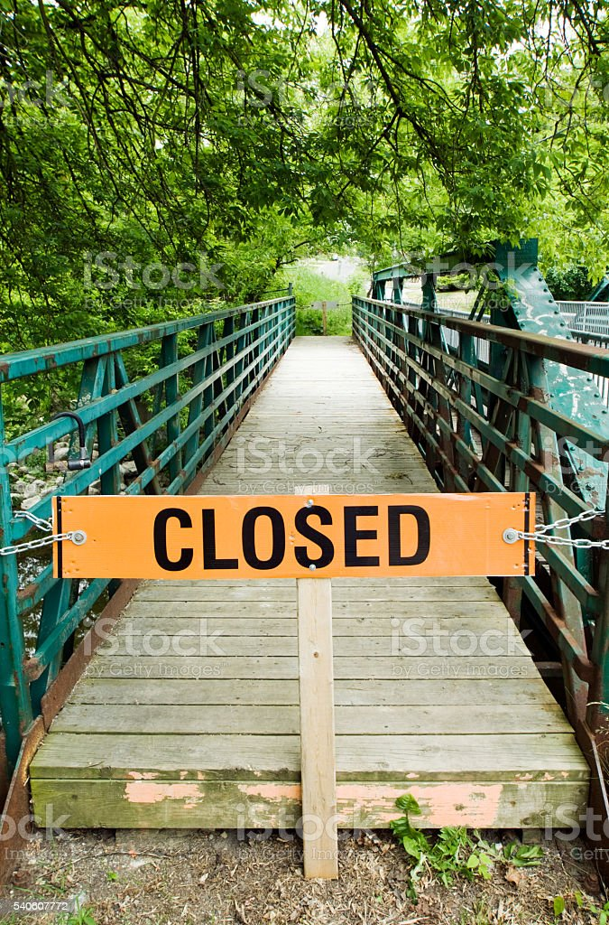 Closed Foot Bridge in Guelph stock photo