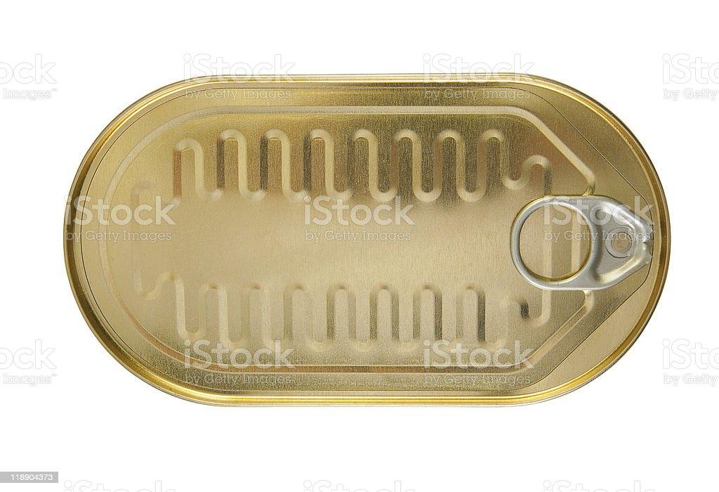 closed gold metal tin stock photo