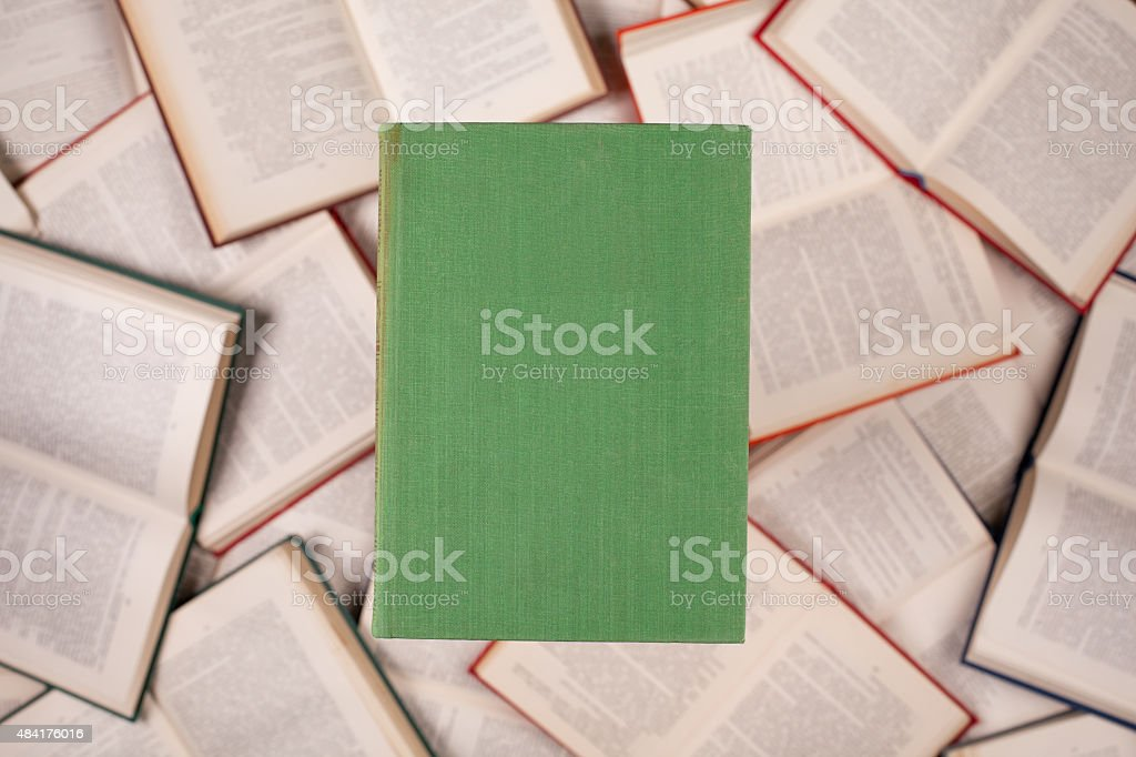 closed green cover book stock photo