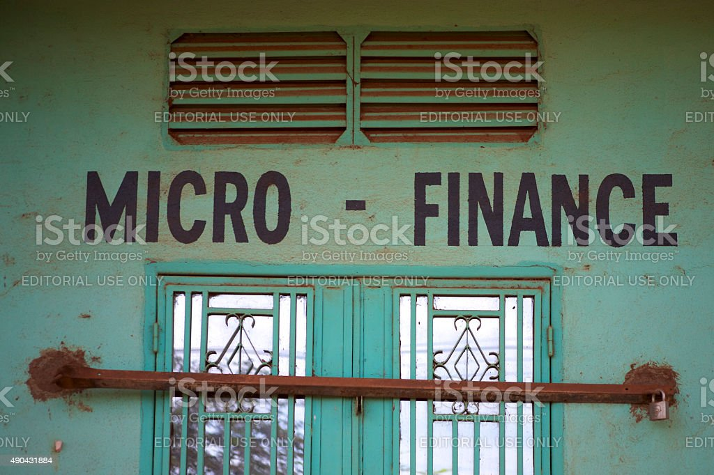 Closed green outdoors micro finance office stock photo