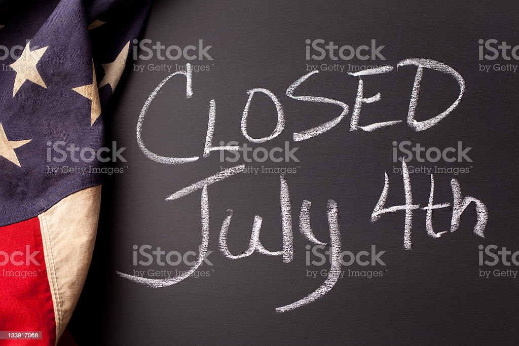 Closed July 4th stock photo