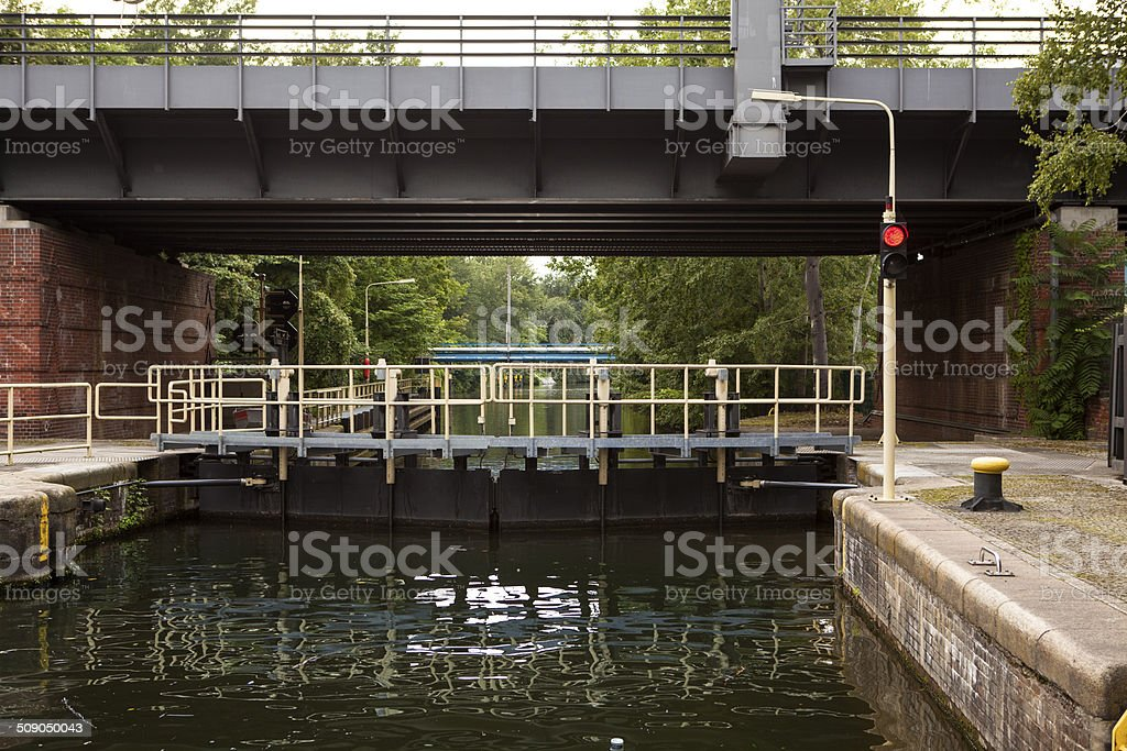 Closed lock on canal stock photo