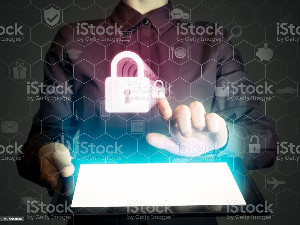 Closed lock, security concept stock photo