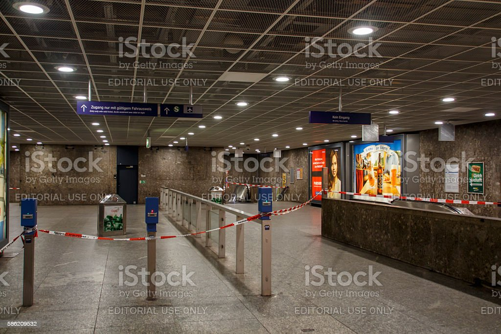 Closed metro station in Munich, Germany, 2015 stock photo