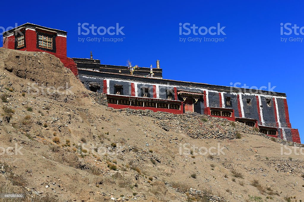Closed monastery. Chong Chu-river valley downstream from Sakya-Tibet. 1804 stock photo