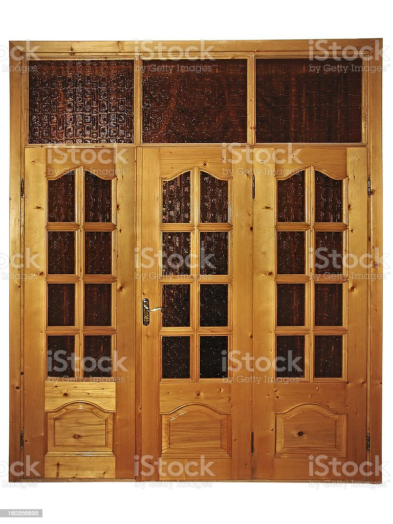 Fechado natural de madeira porta tripla com vidro isolado foto de stock royalty-free