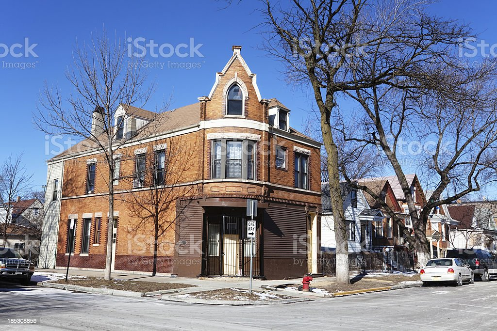 Closed neighborhood corner shop in South Lawndale, Chicago royalty-free stock photo