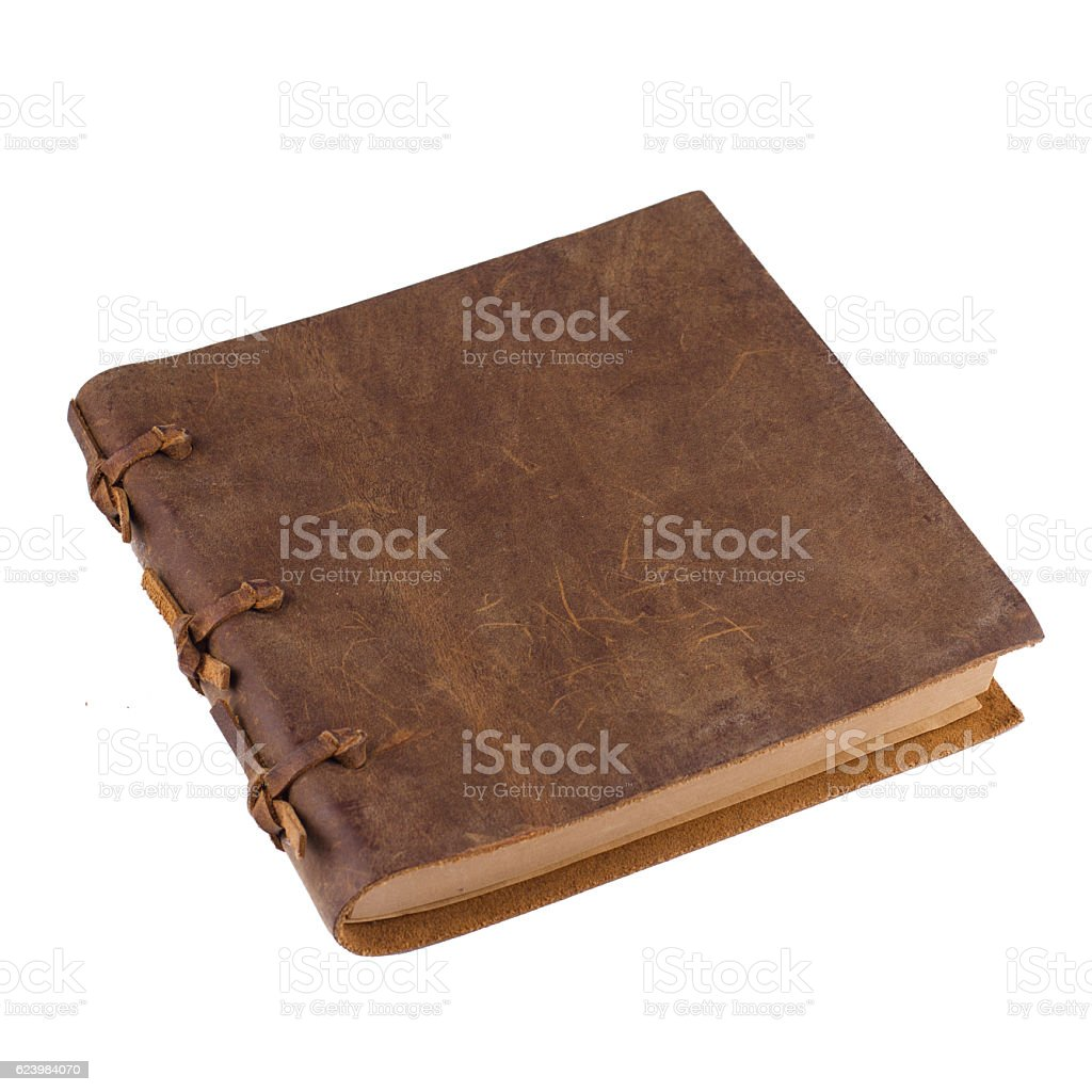 closed notebook with leather brown stock photo