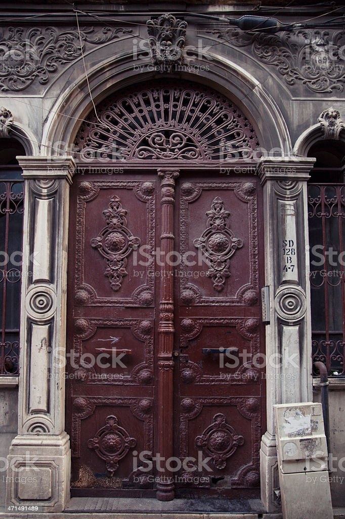 Closed old antique door with ornaments in istanbul royalty-free stock photo