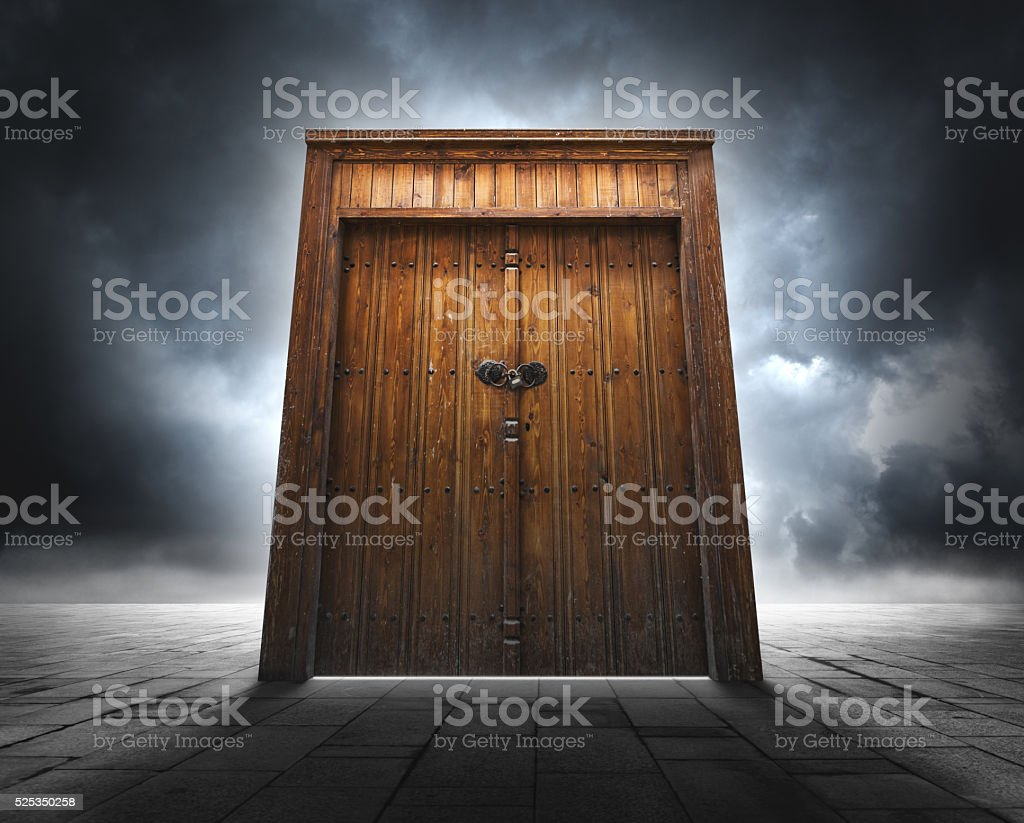 Closed old door stock photo
