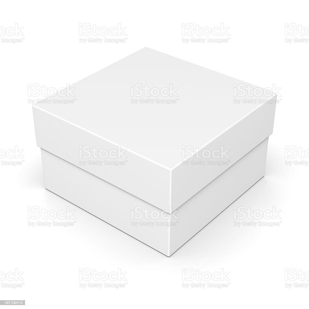 Closed paper square box on white stock photo