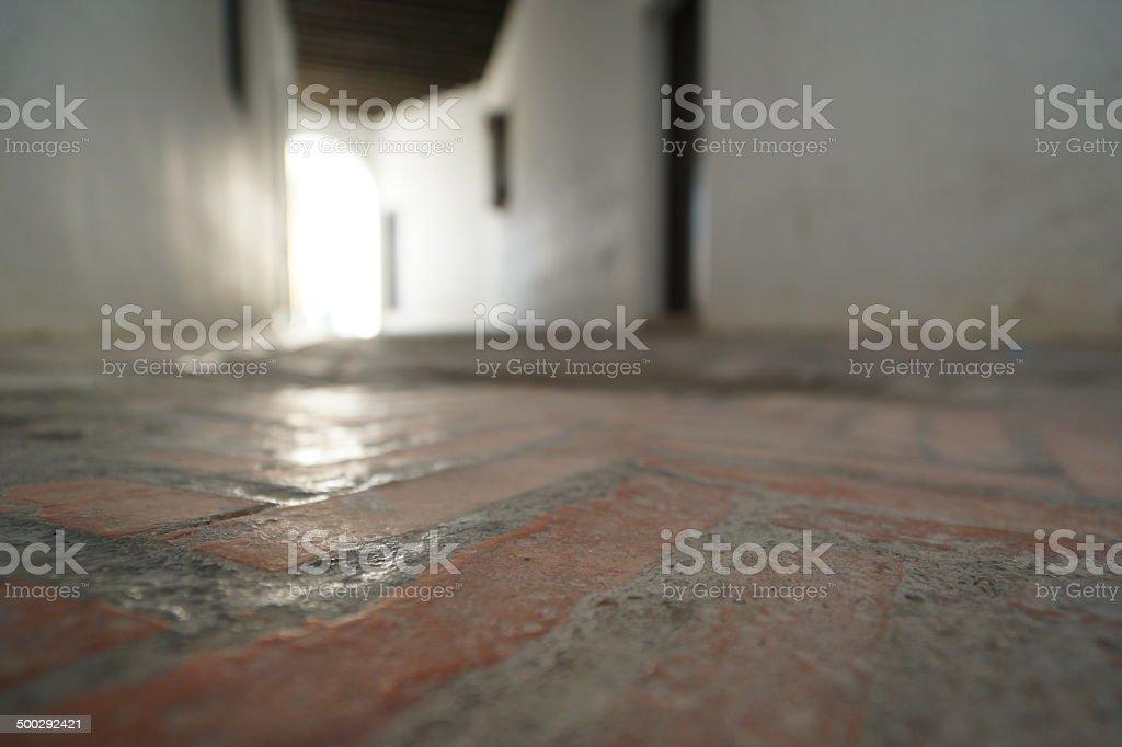 Closed passageway in Sevilla's ancient jewish quarter stock photo