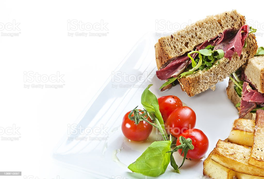 Closed Pastrami Sandwich royalty-free stock photo