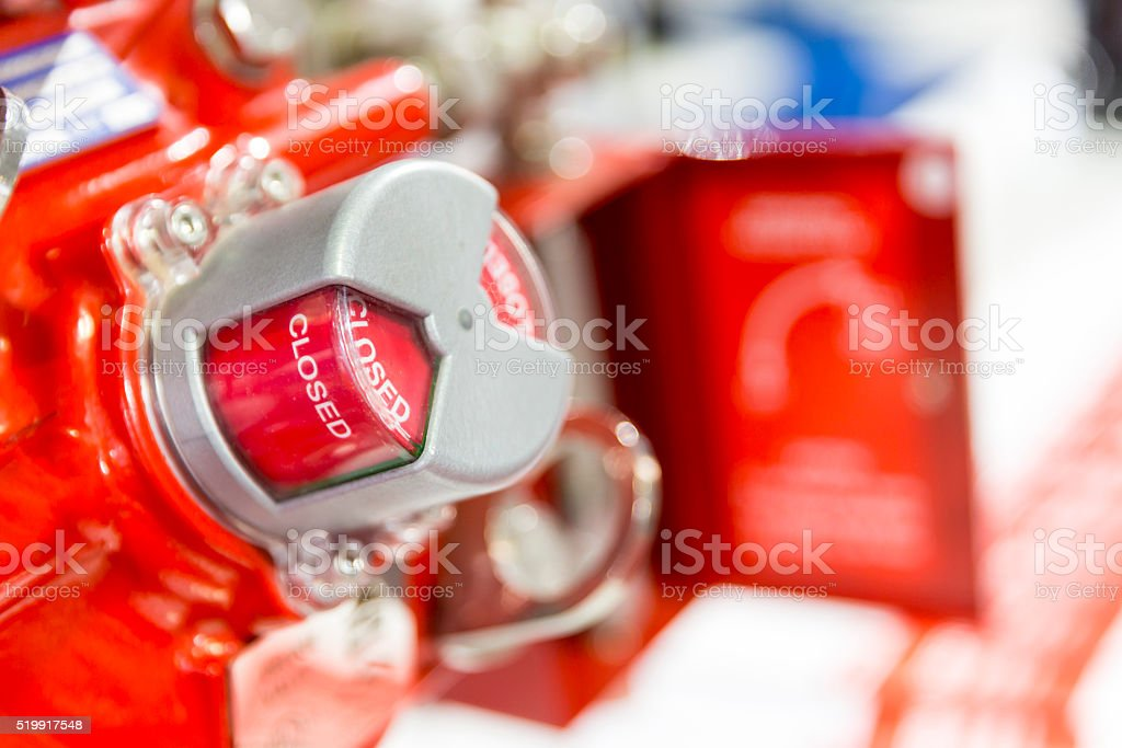 Closed red indicator on a machine stock photo