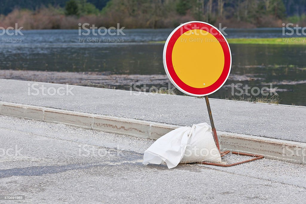 Closed Road Sign in Cerknica during Floods, Slovenia royalty-free stock photo