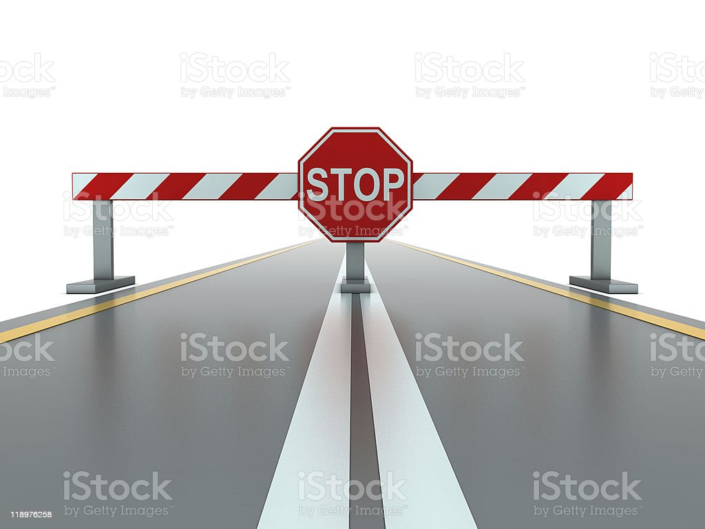 Closed road with stop sign stock photo