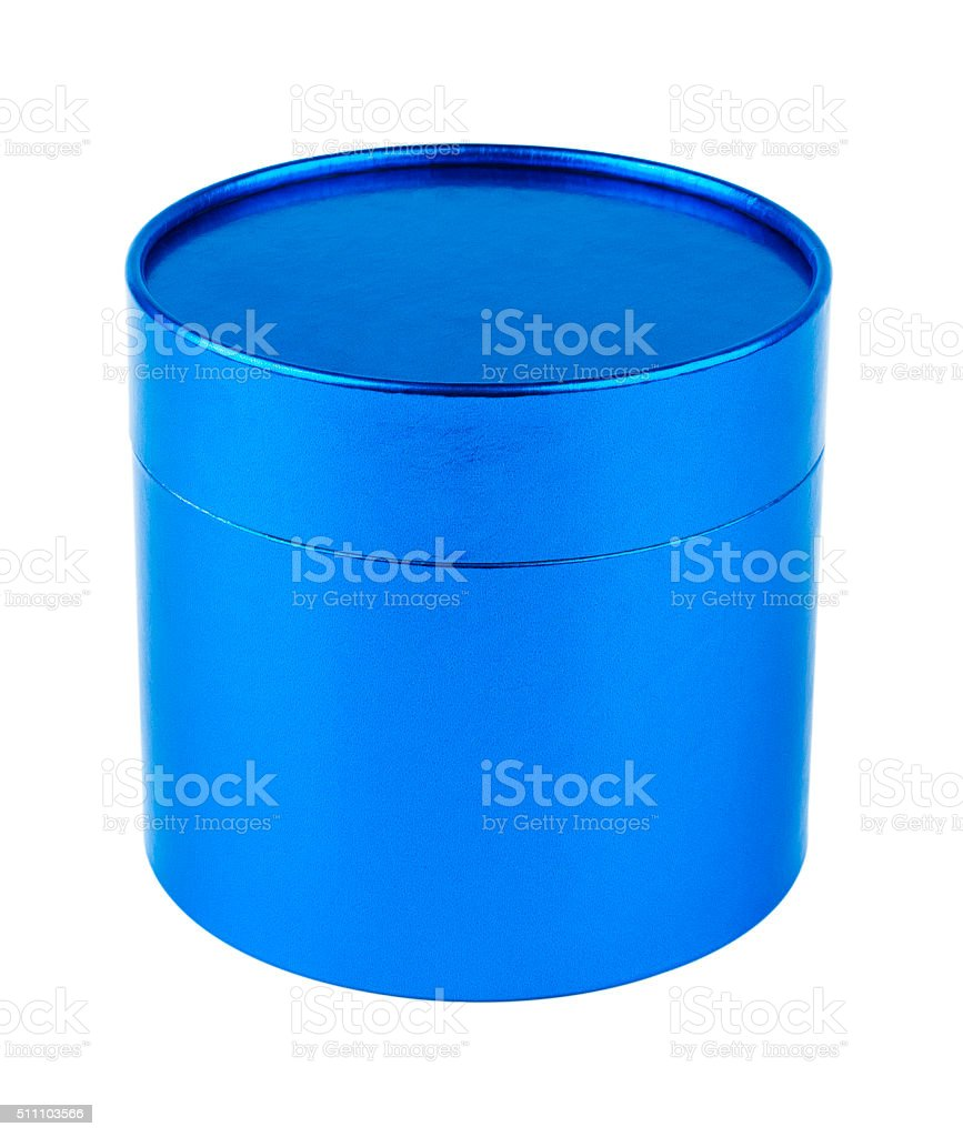 Closed round gift box. Blue pearl color. stock photo