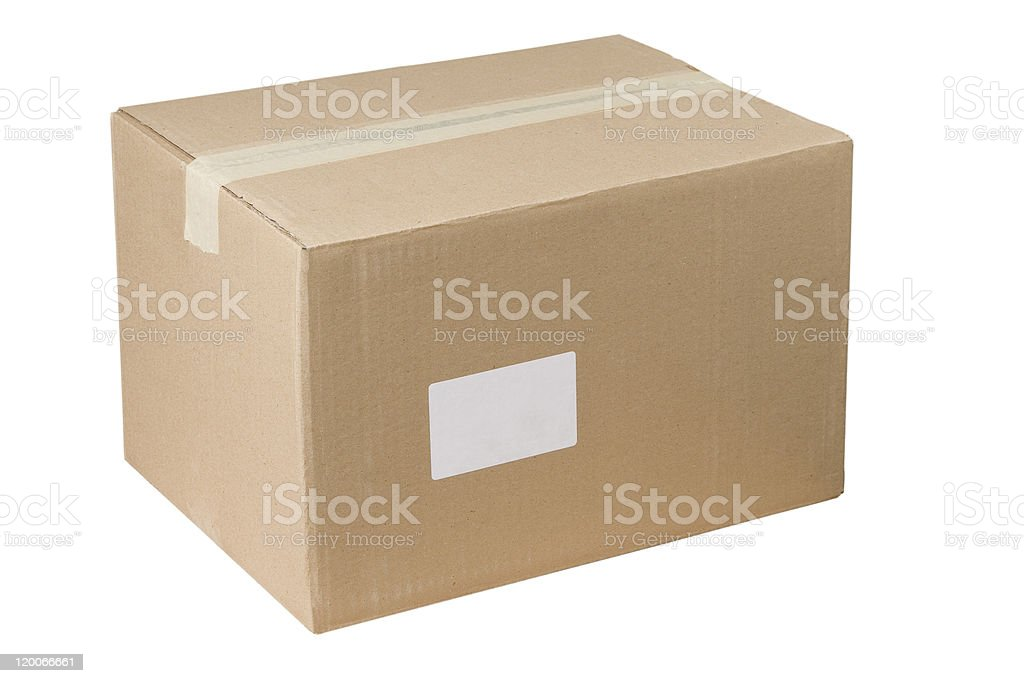 closed shipping cardboard box whit white empty label royalty-free stock photo