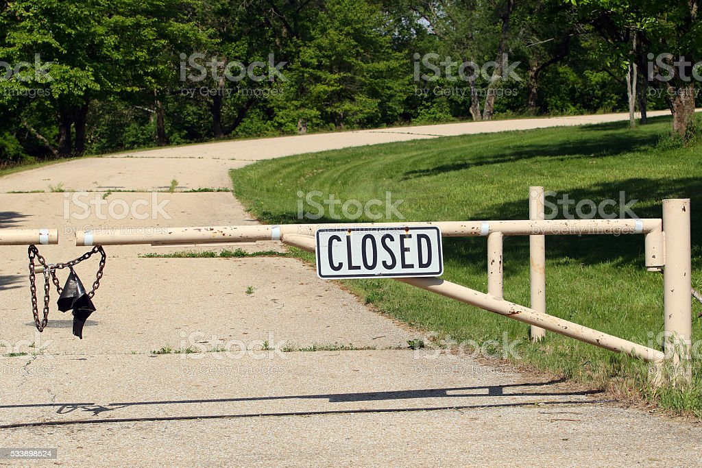 Closed Sign and Gate stock photo