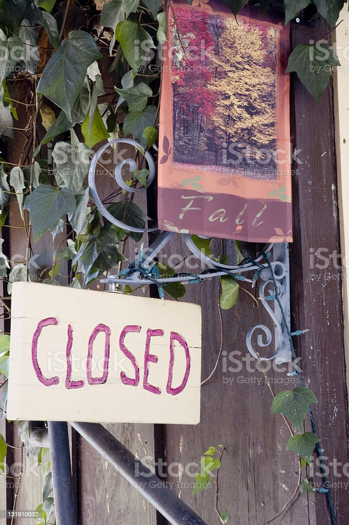 Closed Sign Fall Wild Fires stock photo