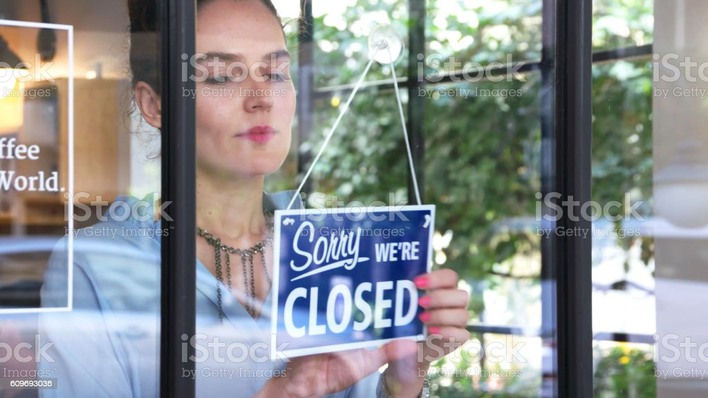 Closed sign in a coffee shop stock photo
