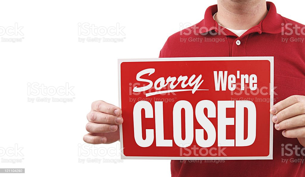 Closed Sign Man royalty-free stock photo